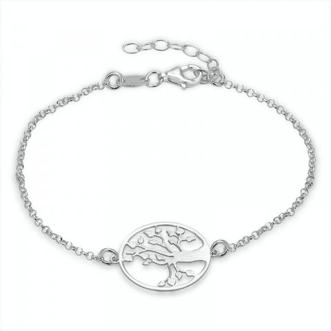 rond boom van het leven armband in zilver met hanger in zilver