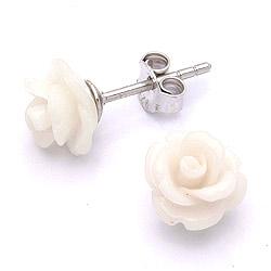 Goedkoop Rose Beauty witte oorsteker in zilver