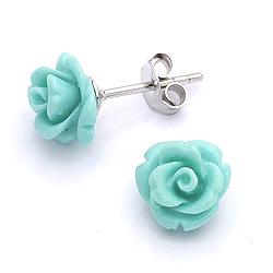 Moderne Rose Beauty groene oorsteker in zilver