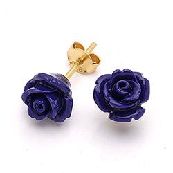 Rose Beauty oorsteker in verguld sterlingzilver