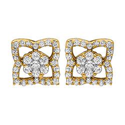 Vierkant diamant oorsteker in 14 karaat goud met diamanten