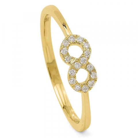 Rond diamant damesring in 14 karaat goud 0,10 ct