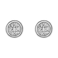 Klein diamant oorsteker in 14 karaat witgoud met diamanten