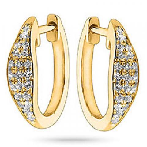 Rond diamant oorbellen in 14 karaat goud met diamanten
