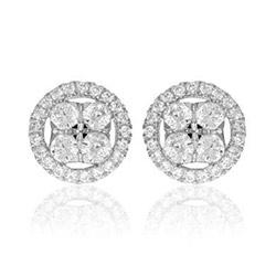 Rond diamant oorbellen in 14 karaat witgoud met diamanten