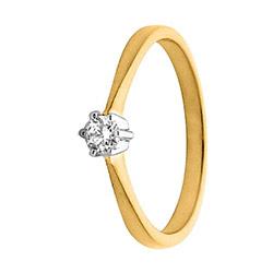 Smal diamant Damesring in 14 karaat goud-en witgoud 0,10 ct