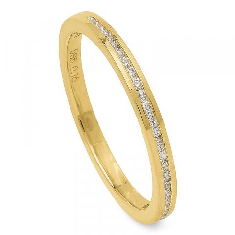 Smal diamant goud ring in 14 karaat goud 0,16 ct