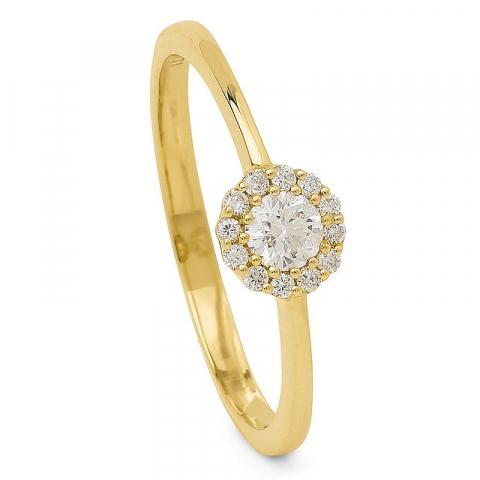 Rond diamant ring in 14 karaat goud 0,23 ct
