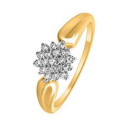 Mooi ster diamant ring in 14 karaat goud-en witgoud 0,19 ct