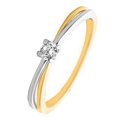Echt diamant ring in 14 karaat goud-en witgoud 0,09 ct