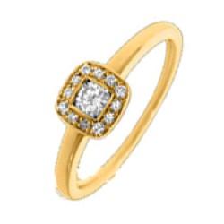 Vierkant diamant gouden ring in 14 karaat goud 0,17 ct