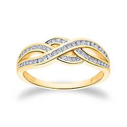 Groot diamant gouden ring in 14 karaat goud 0,30 ct