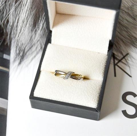 Mooi diamant ring in 14 karaat goud-en witgoud 0,03 ct