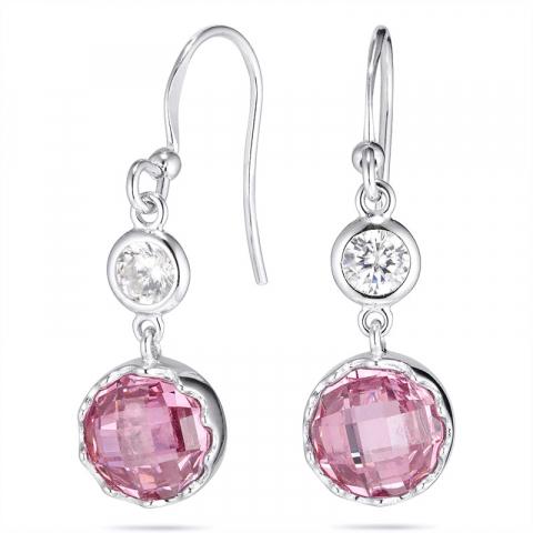 Rond roze oorbellen in zilver