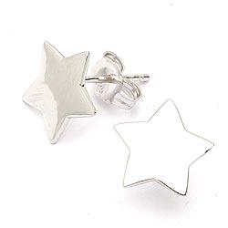 Groot ster oorbellen in zilver