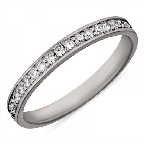 Smal witte zirkoon ring in zwart gerhodineerd zilver