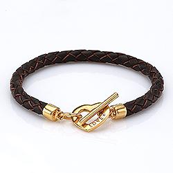 Bruin armband in leren met hartjes hanger in verguld sterlingzilver