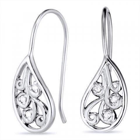 Druppelvormig oorbellen in zwart gerhodineerd zilver