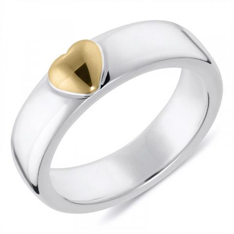 Moderne hart ring in zilver met 8 karaat goud