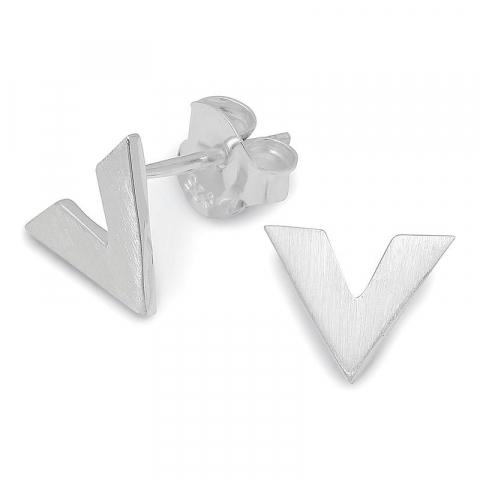 Mooie driehoekig oorsteker in zilver