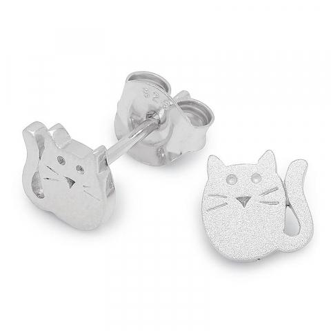 Schattige katten oorsteker in zilver