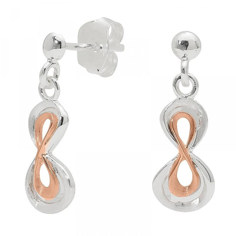 Mooie infinity oorbellen in zilver met zilver met een roze coating