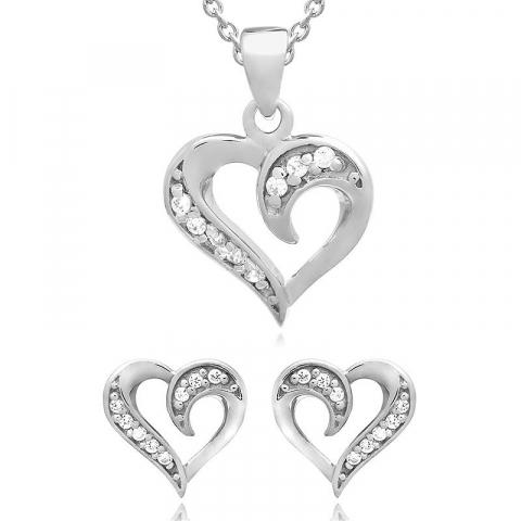 Hart set met oorbellen en ketting in zilver witte zirkoon
