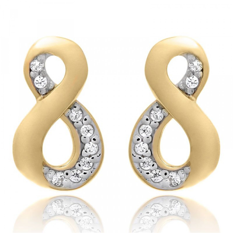 Infinity set met oorbellen en ketting in verguld sterlingzilver witte zirkoon