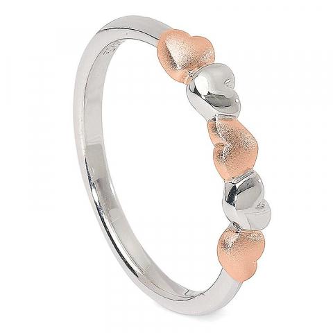 Schattig hart ring in zilver met zilver met een roze coating