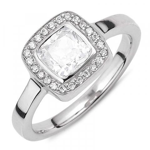 Mooi witte zirkoon ring in zilver