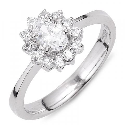 Moderne ovale witte zirkoon ring in zilver