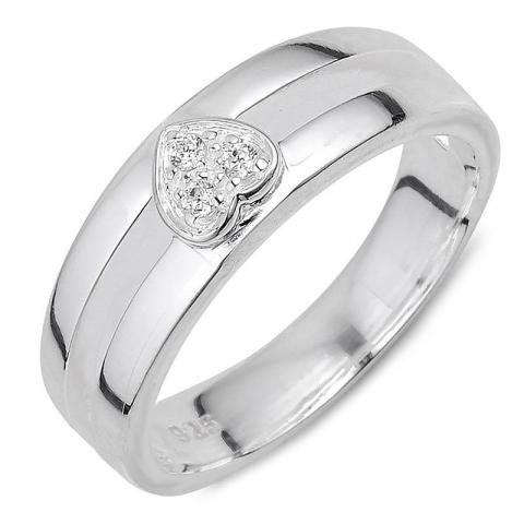 Schattig hart zirkoon ring in zilver
