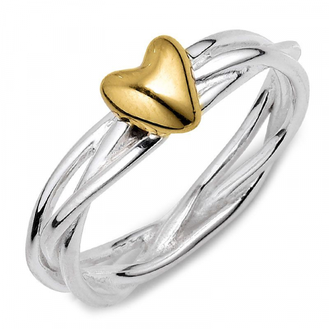 Schattig hart ring in zilver met verguld sterlingzilver