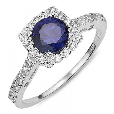 Vierkant blauwe zirkoon ring in zilver