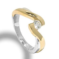 Mooi ring in zilver met 8 karaat goud