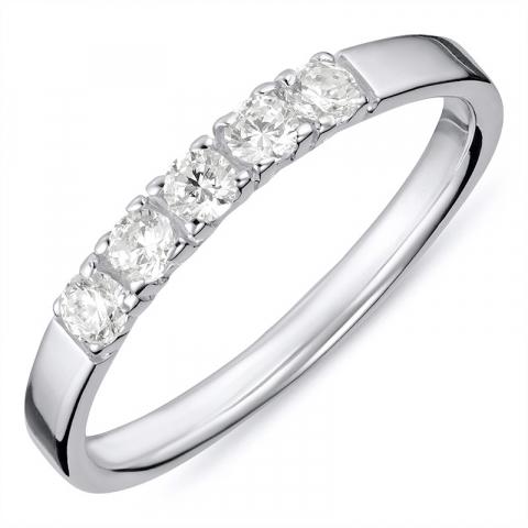Glad  witte zirkoon mémoire ring in zilver