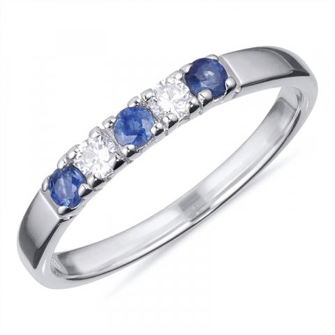 Ringen: blauwe saffier mémoire ring in zilver