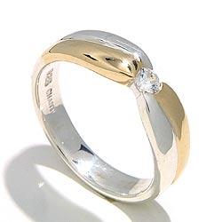 Glanzend ring in zilver met 8 karaat goud