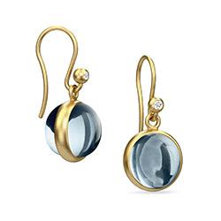 Mooie Julie Sandlau PRIME oorbellen in zilver met 22 karaats verguldsel  witte zirkonen blauwe kristallen