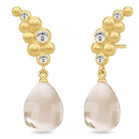 Elegante julie sandlau oorbellen in zilver met 22 karaats verguldsel  witte kristallen witte zirkonen