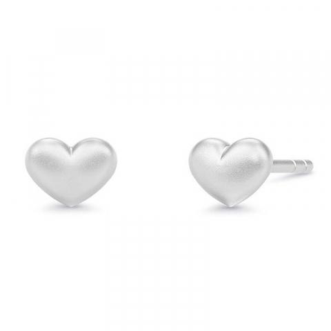 Schattige julie sandlau hart oorbellen in satijn gerodineerd sterling zilver