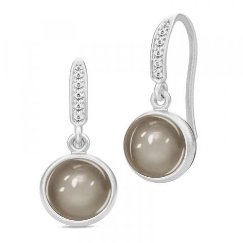 Mooie Julie Sandlau rond maansteen oorbellen in satijn gerodineerd sterling zilver grijze maanstenen witte zirkonen